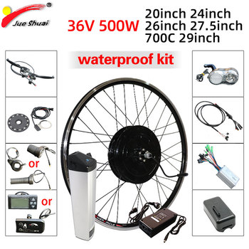 eBike Kit 36V 500W Front Geared Hub Motor Wheel Kt LCD LED Display Electric Bicycle E bike Conversion Kit With Battery Function