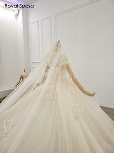 Image 2 - 2020 Royal wedding dress off the shoulder sleeves with long veil real work
