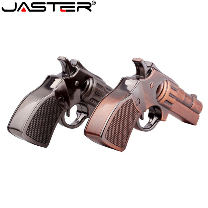 JASTER Metal Copper Gun USB Flash Drive Pistol Pendrive 4GB 8GB 16GB 32GB 64GB U Disk Revolver Gun Memory Stick Use Creativo