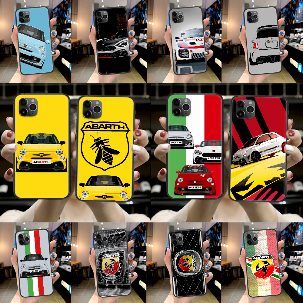 CKarl Abarth Car logo Phone Case For Iphone 4 4s 5 5S SE 5C 6 6S 7 8 Plus X XS XR 11 12 Mini Pro Max 2020 black Cover Silicone