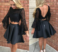 Black Two Pieces Cocktail Dress Lace Top Long Sleeves Holidays Wear Graduation Evening Party Pageant Gown Custom Made Plus Size