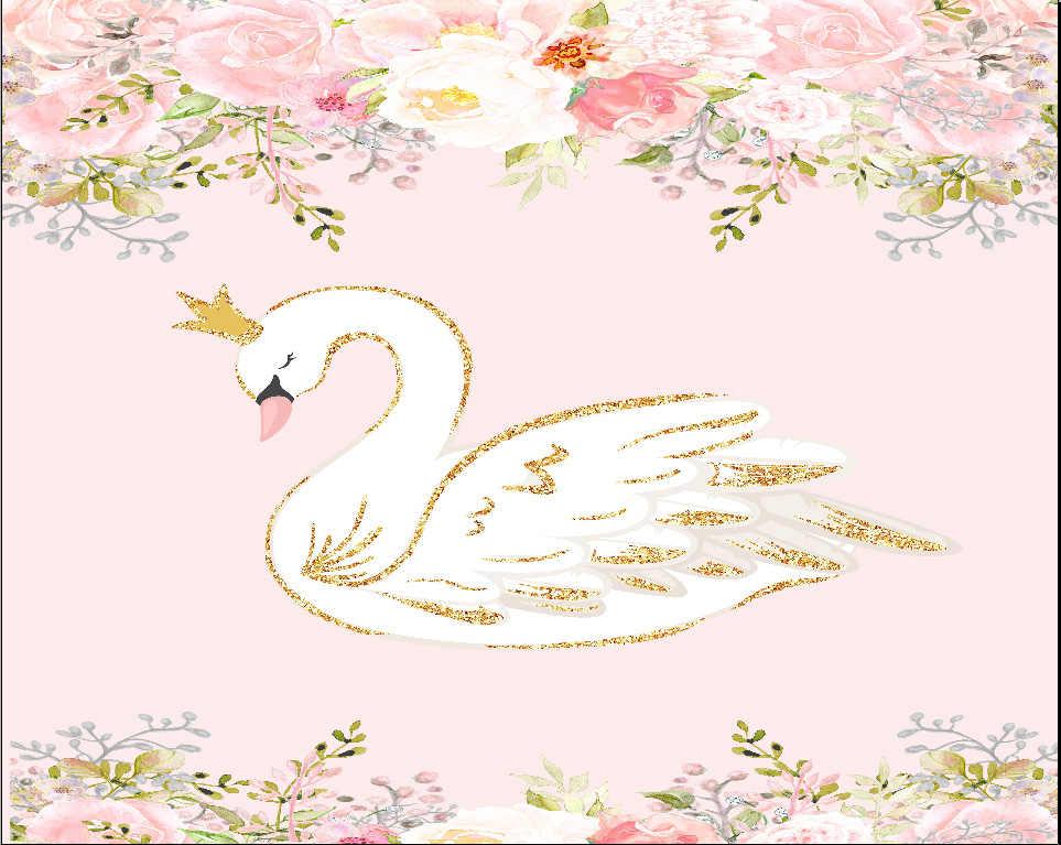 7x5ft bela cor flores florais cisne branco ouro lantejoulas festa diy personalizado foto pano de fundo vinil 220cm x 150cm
