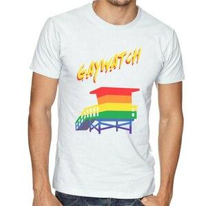 Lgbt Gaywatch kule T-Shirt komik Tee-gurur plaj Baywatch yaz nefes üstleri Tee gömlek