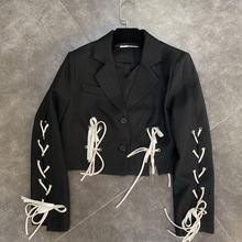 Женская короткая куртка на шнуровке с длинным рукавом винтажный