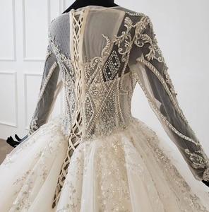 Image 5 - HTL1149 夜会服のウェディングドレス 2020 レースoネックレースアップバックコルセットブライダルドレス長袖ビーズ платье свадебное