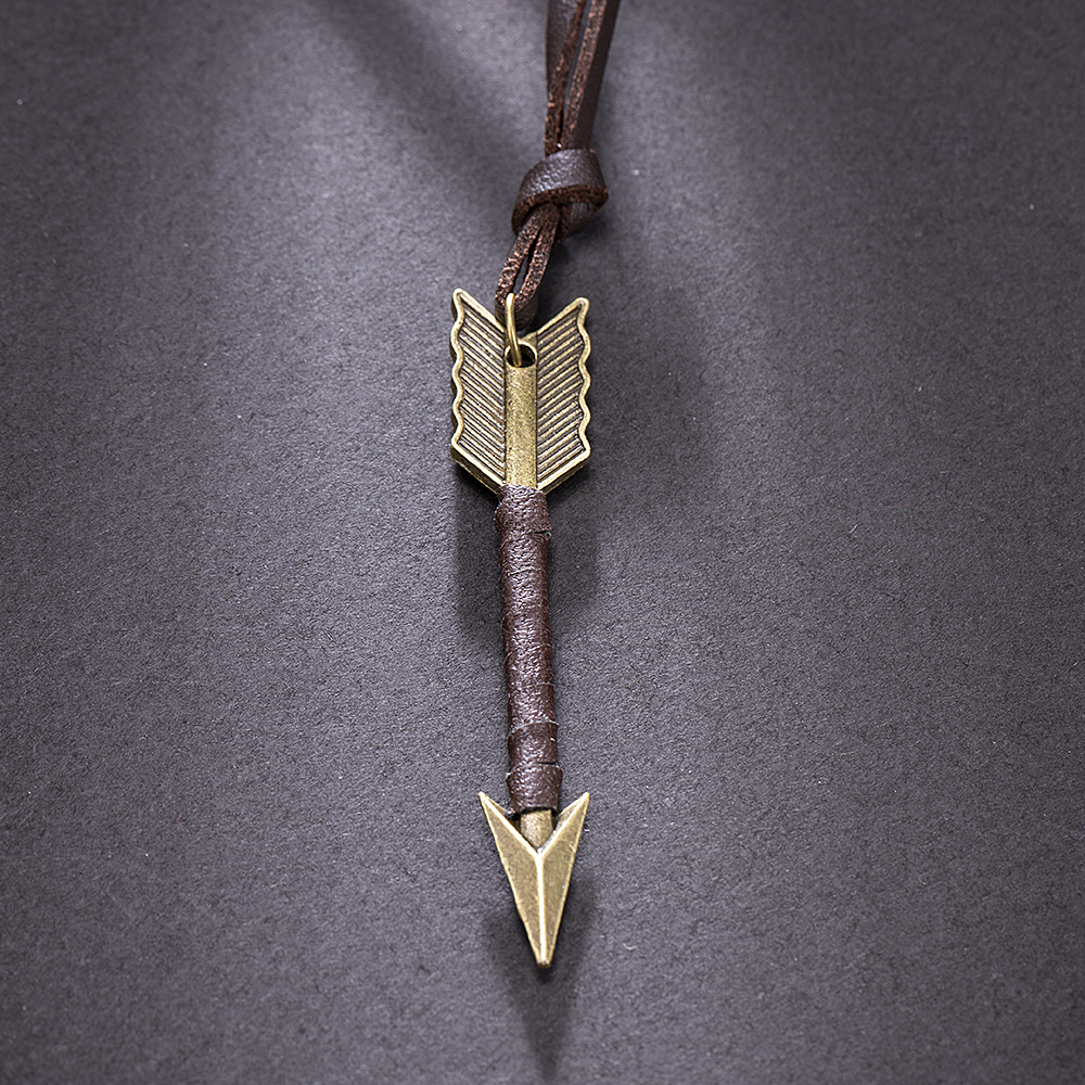 Fashion trend Men Vintage Leather wild Arrow Punk Necklaces alloy Pendants Personality Body Choker Chain Jewelry Gift 2