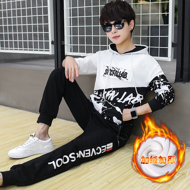 Plus Velvet Thickening 15 Teenagers Big Tong 12 Handsome One Set Junior High School Student Winter Clothes Sweater 13 Years Old