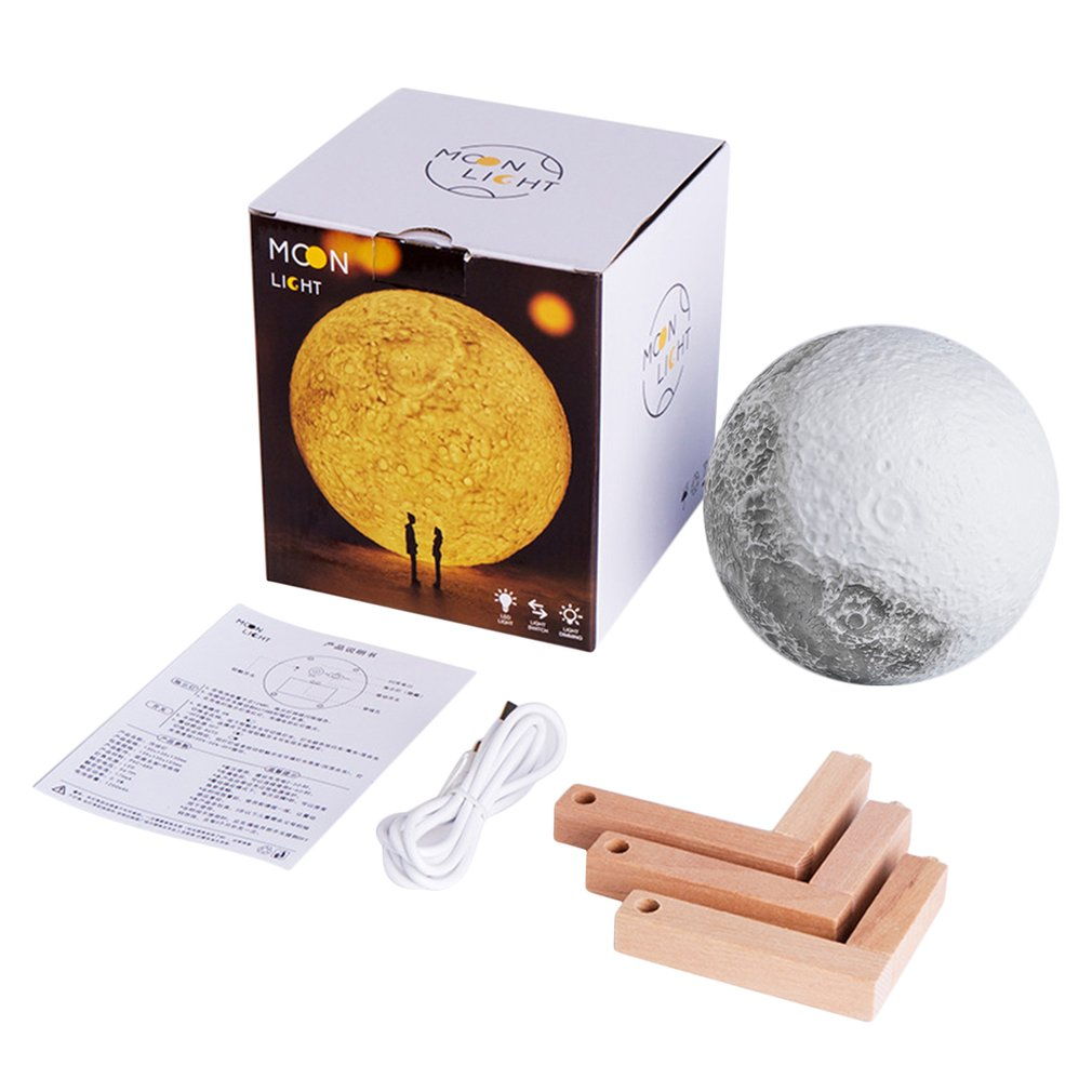 ICOCO USB Rechargeable 3D  Moon Lamp With Base 13CM Bedroom Bookcase Night Light Vibration Sensing Home Decoration Birthday Gift