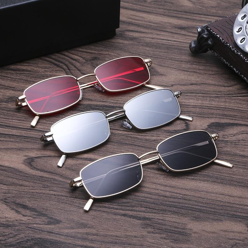 Солнцезащитные очки унисекс с прозрачными линзами UV400, небольшие прямоугольные, в металлической оправе, в стиле ретро, 1 шт.