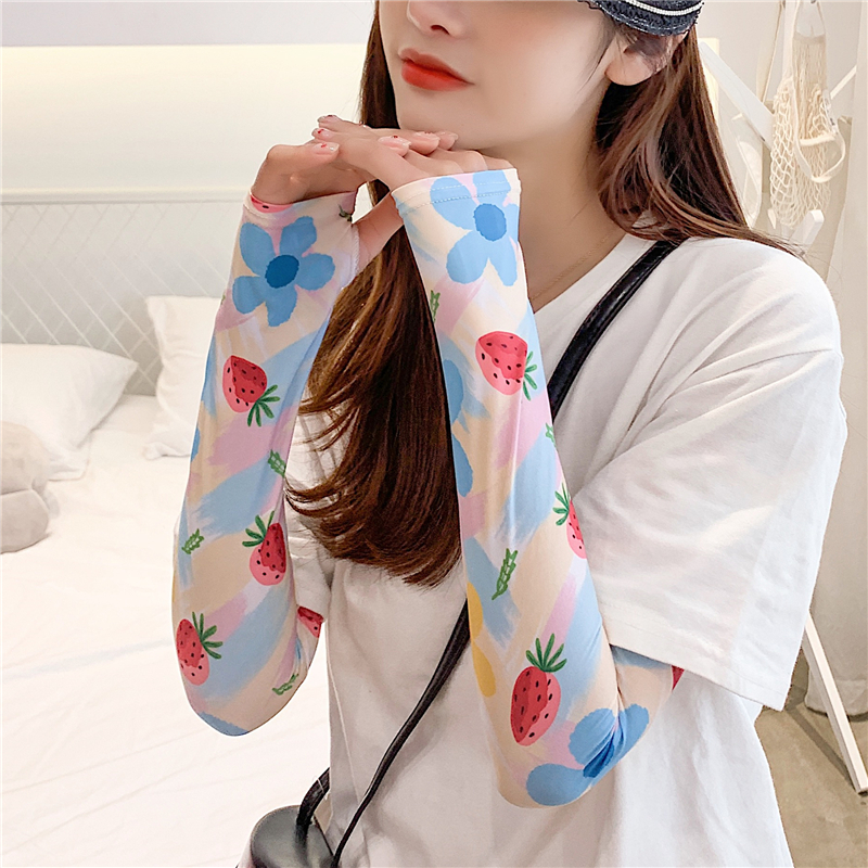 2020 New Ice Silk Arm Sleeves Fashion Lady Arm Covers Print UV Sun Protection Sleeve Slimmer Gloves Female Accessories