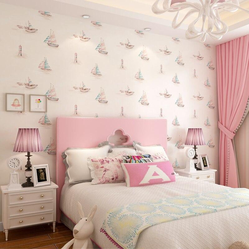 Bamboo fiber children's room wallpaper boy girl bear woven wallpaper pink blue living room bedroom