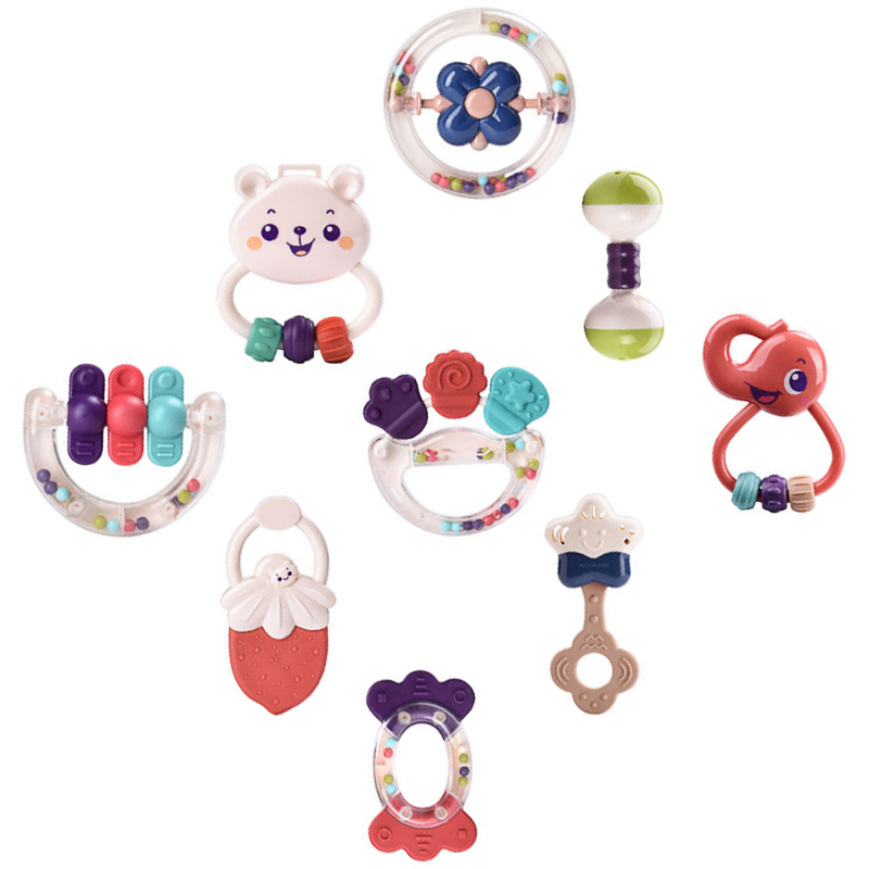 9 Pcs Colorful Baby Rattle Set Kids Educational Crib Baby Teether Rattles Baby Grip Molar Educational Toy Set