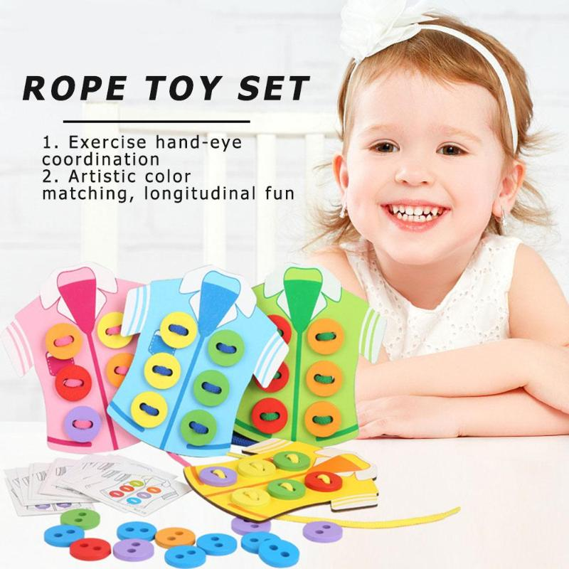 Montessori Child Clothes Wearing Rope Wood Handmade Kindergarten Sewing Toy