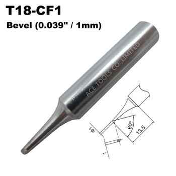 T18-CF1 Soldering Tip Bevel 1mm 0.039 Fit HAKKO FX-888 FX-888D FX-8801 FX-600 Lead Free Iron Bit Nozzle Handle Pencil Welding image