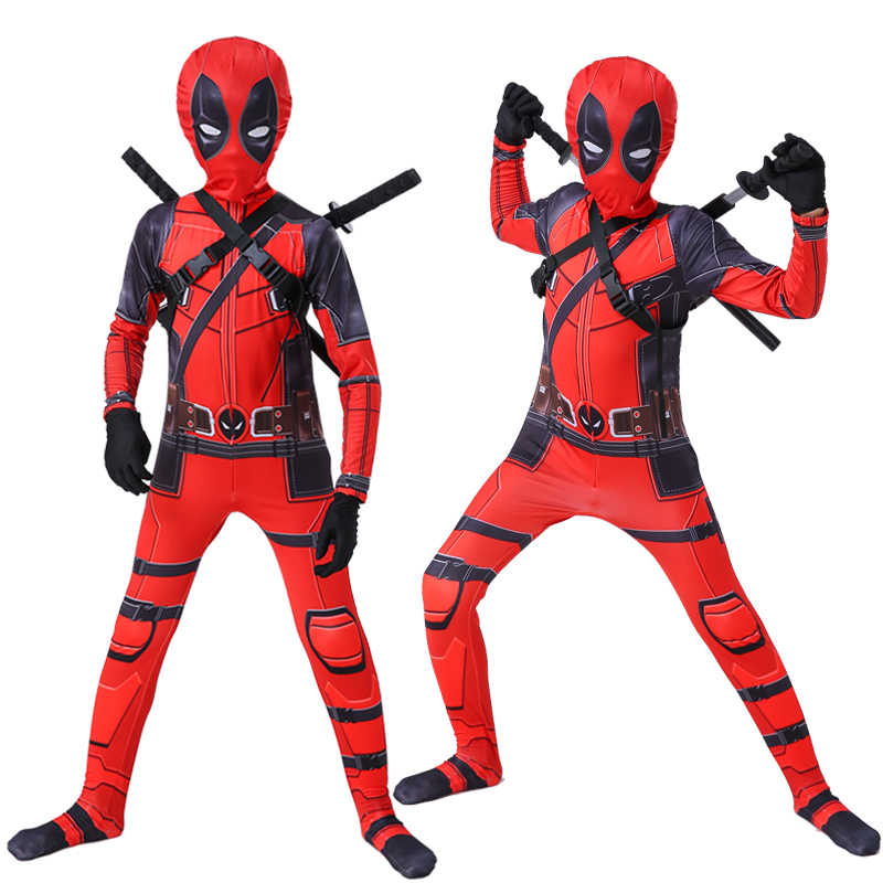 Hot Kids Deadpool Costume Boys Superhero Cosplay Party Costumes Suit Halloween Costume For Kids Adult Aliexpress