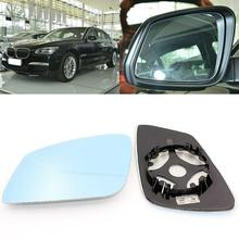 For BMW 7 Series 2004-2017 Side View Door Mirror Blue Glass With Base Heated 1pair l r door wing mirror glass heated blue left right side for bmw x5 e53 99 06 3 0i 4 4i car styling rearview mirror heating