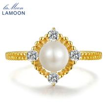 LAMOON Natural Round Fresh Water Pearl Finger Ring 925 Sterling Silver Jewelry 14K Yellow Gold Romantic Festival Gift RI028 Hot(China)