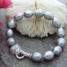Ювелирный жемчужный браслет natura 10-11 мм серое Южное море барокко жемчужный браслет 7,5-8 дюймов