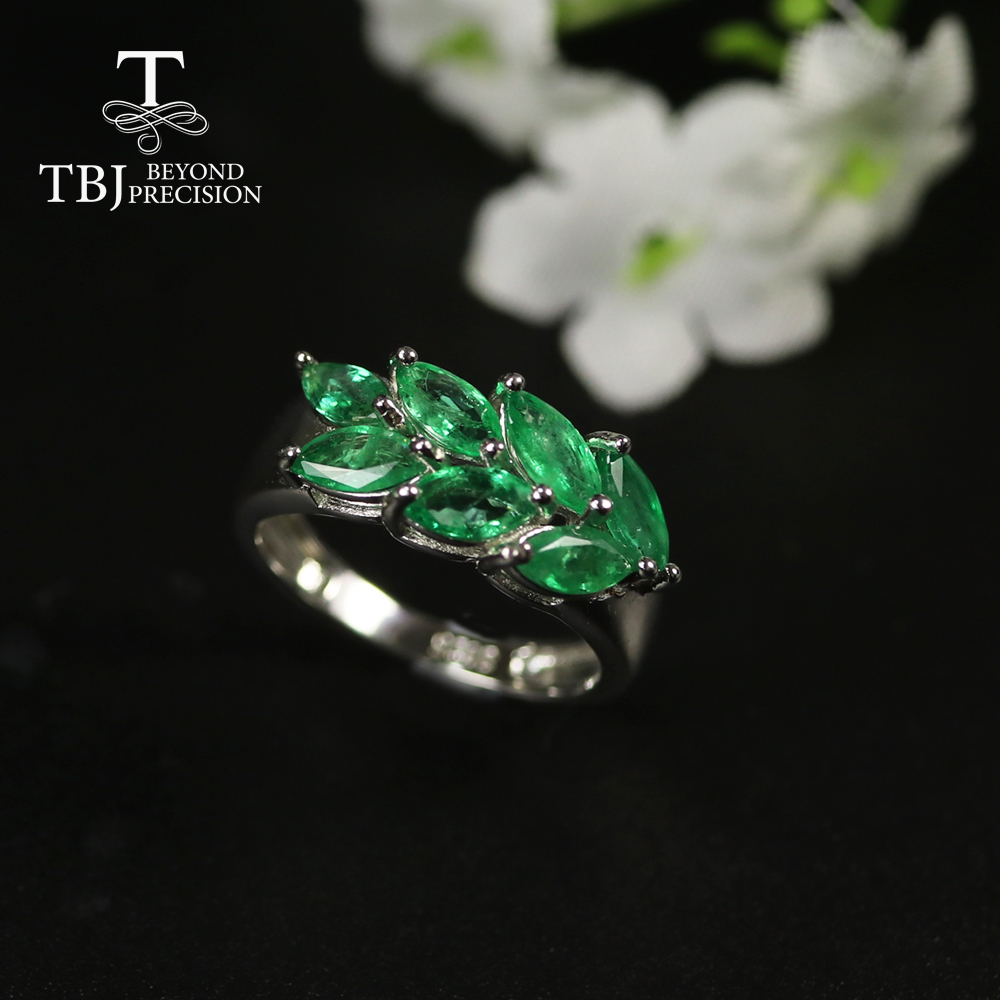 2020 Natural Emerald Ring Precious Gemstone Green Zambia Emerald Jewelry 925 Sterling Silver Fine Jewelry For Women Best Gift