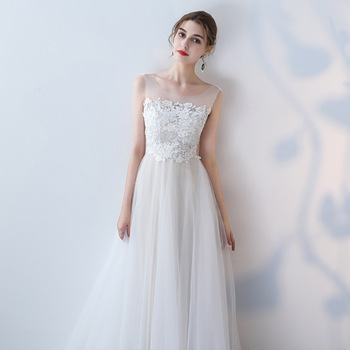 Elagant Wedding Dress Qipao Solid White Lady Exquisite Lace Sleeveless Evening Party Gown Full Length Mesh Ball Gown Prom Dress