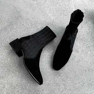 Image 4 - Krazing Pot popular breathable soft flock knitting socks boots round toe med heels slip on winter women solid ankle boots L92