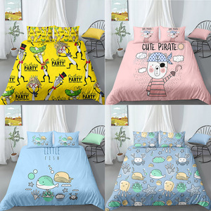 3D printed cartoon pattern 2/3pcs fashionable modern household quilt/duvet cover pillowcase Twin Double Full Queen King Size