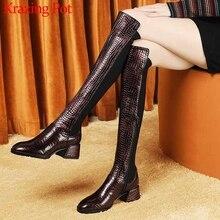 Krazing Pot muhteşem baskı inek deri streç yuvarlak ayak yüksek topuklu yan Zip kış sıcak tutmak olgun kadın uyluk yüksek çizmeler L23