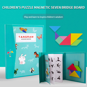Children'S Educational Early Childhood Toy Colorful Wooden Magnetic Jigsaw Puzzle Teaching Aids Baby Intelligence Jigsaw Puzzle flyingtown montessori teaching aids balance scale baby balance game early education wooden puzzle children toys