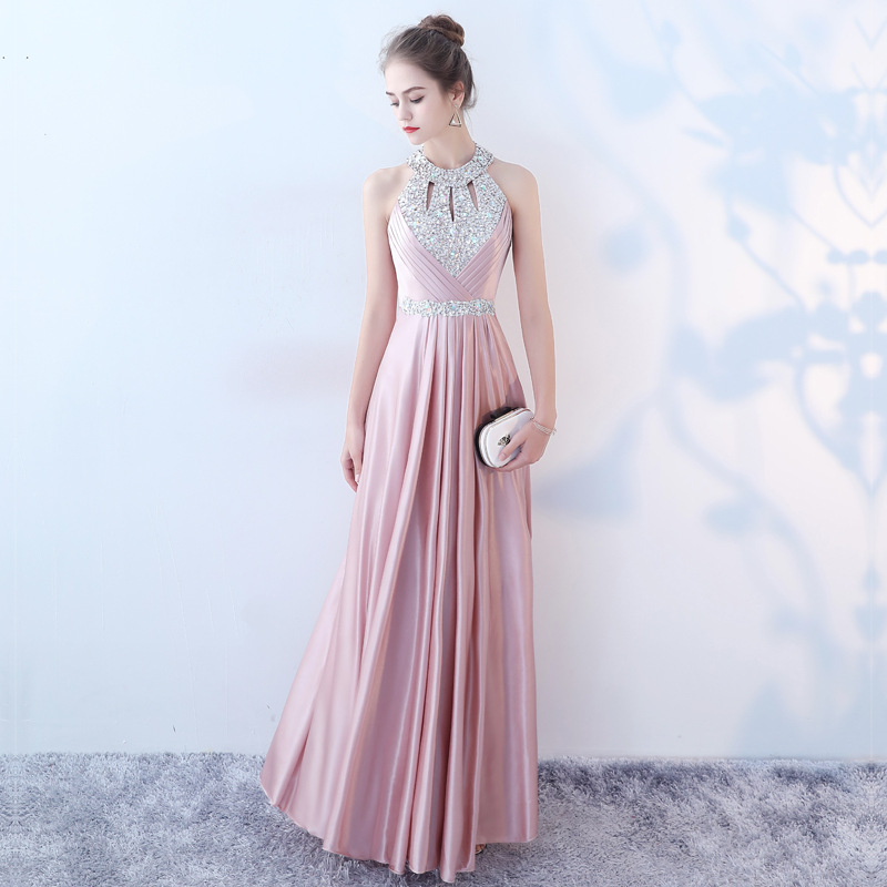 Evening Dress Shining Crystal Halter Sleeveless Elegant Party Dresses Pink A Line Long Formal Gowns Women Robe De Soiree K170