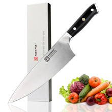 KEEMAKE High Quality 8 inch Chef Knife Liquid Metal Steel Blade Sharp Kitchen Knives G10+S/S Handle Meat Vegetable Cutting Tool