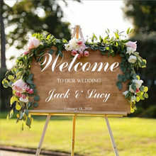 Modern style wedding decoration decals personalized bride and groom name date customization Sticker Welcome to our H14