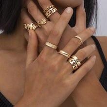 Золото Цвет Круглые Пустотелые геометрические набор колец для