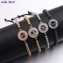 MHS. SUN 26 браслет с надписью и цирконием, золотой, серебряный переплетенный Регулируемый браслет с алфавитом, браслеты для женщин, пара, браслет для девочек, 1 шт