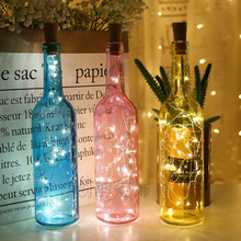 Wine-Bottle-Lights String Garland Wedding-Decor Battery-Powered Copper-Wire LED Cork-2m