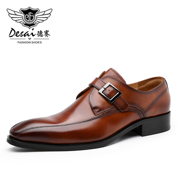DESAI Monk Genuine Leather Men Shoes Business Handmade Dress Brogue Formal Wedding Shoes for Men with Buckle Strap Slip On 2020 desai men s shoes genuine leather british toe carved business shoes for men classic dress formal wedding 2020 new