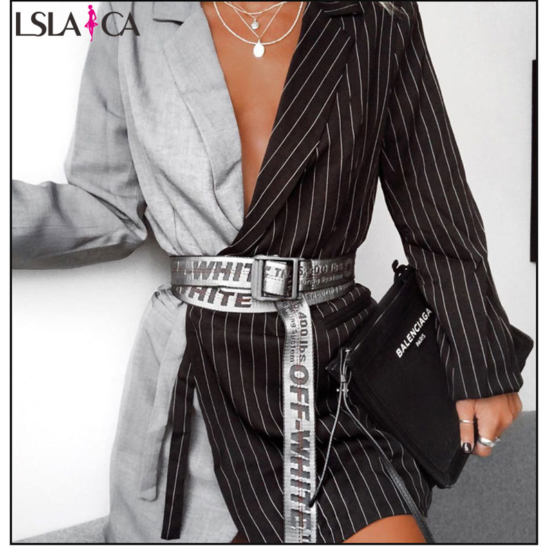 Suit Dress Elegant black and white striped color matching waist tie office casual dress long sleeve banquet dress autumn 2019