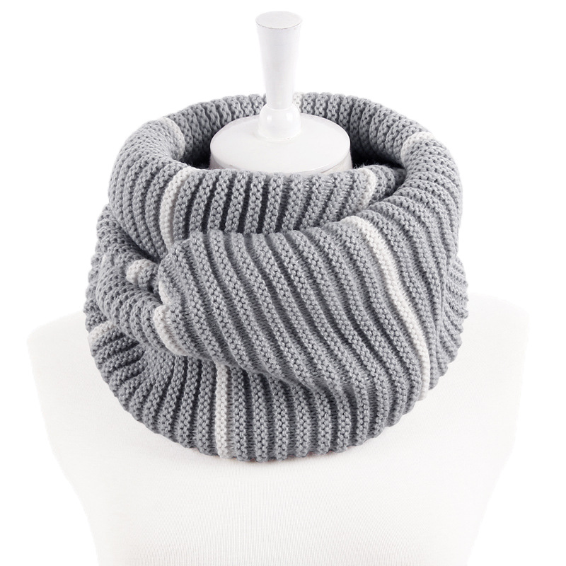 Luxury Striped Winter Warm Knit Neck Warmer Infinity Scarf For Women Man Winter Double Circle Loop Scarfs Scarves Ring Wraps