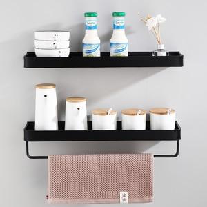 Image 3 - Prateleira para banheiro, prateleira para banheiro, preta com toalha de banho, prateleira de alumínio para banheiro, suporte de shampoo, rack de canto