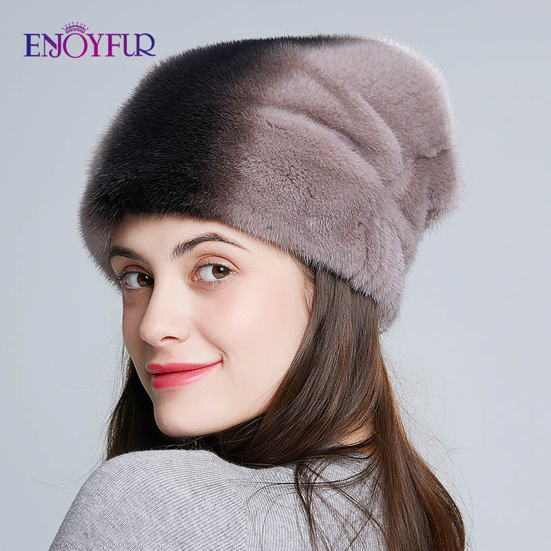 ENJOYFUR Genuine Mink Fur Hats For Women Thick Warm Whole Mink Fur Caps Fashion Rhinestones Lady Caps New Fur Beanies