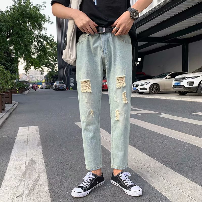 Main Push 2019 New Style Trend Of Fashion Skinny Pants Korean-style Jeans With Holes Capri Casual Pants AliExpress