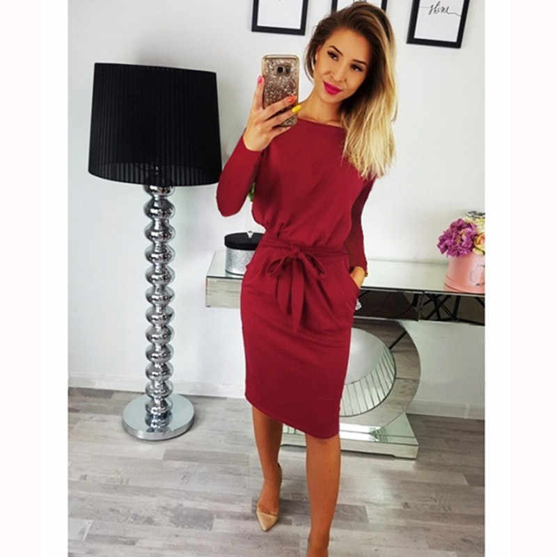2019 automne hiver grande taille femmes robe O col Sexy moulante dames robes mode Boho à manches longues nœud robe Midi Vestidos 3XL