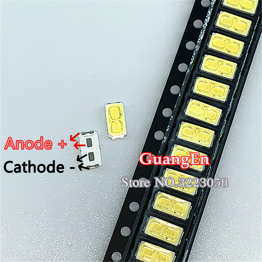 500pcs For LG SMD LED 6030 6V 1W Double Chips Cold White For TV Backlight LED Lamp Bead High Quality