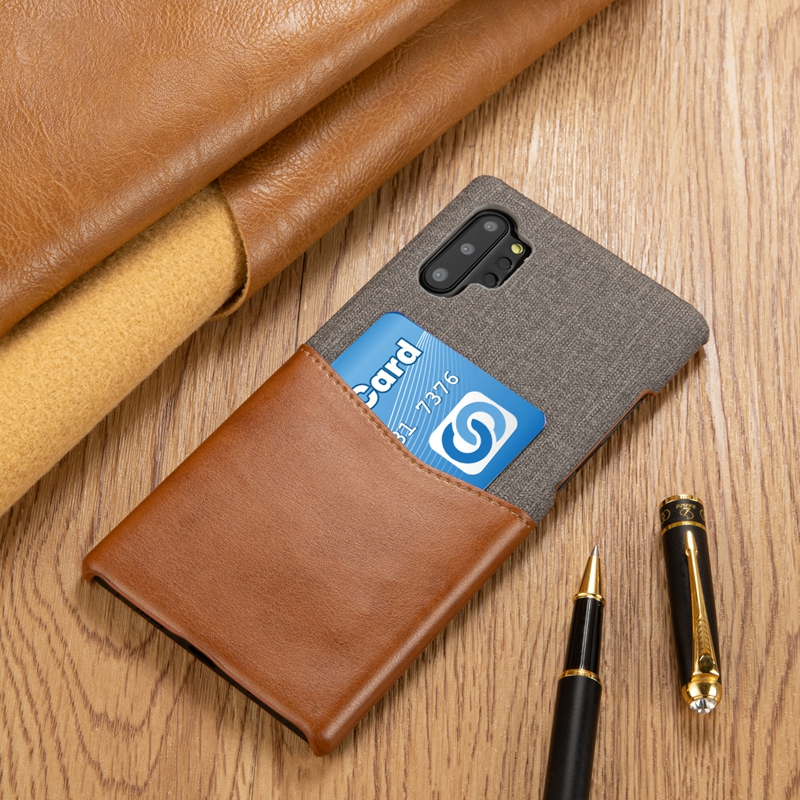 Note 10 Card Pocket Back Phone Case for Samsung Galaxy Note 10 Pro Stitching PU Leather with Cloth Cover for Samsung Note 10