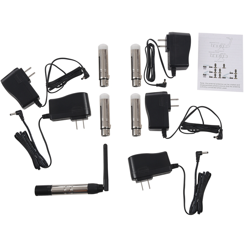 5 Pcs DMX512 DMX Dfi DJ 2.4G Wireless 1 Transmitter And 4 Tricolor LED Indicators Receiverr For DJ LED Lighting Control