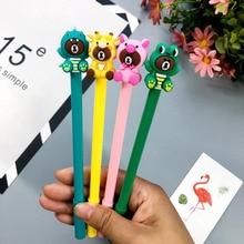 2pc Cute Brown Bear Pen Kawaii Black Ink Rollerball Gel Writing Office School Supplies Korean Stationery Signature