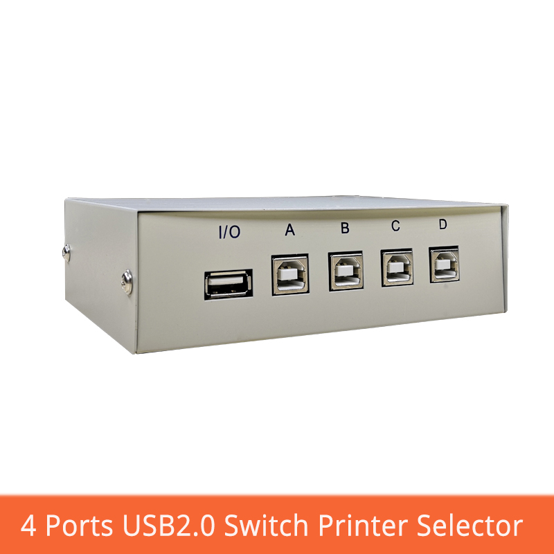 USB Switch 4 Port Printer Selector Manual Button Switch Four Into One Out Multiple Computers Share Usb Converter