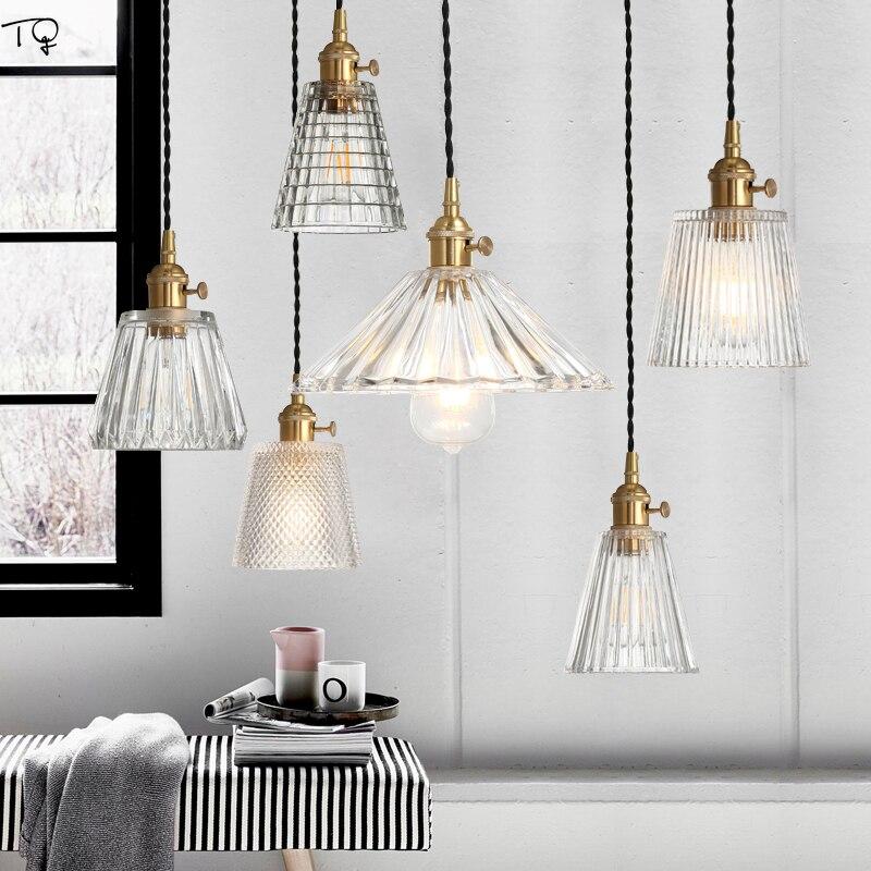 Nordique verres transparents Vintage Retrot pendentif LED lumières cuivre salon salle a manger Bar chambre Cafe Luminaire japonais