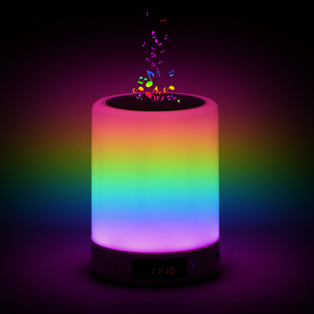 Smart Bluetooth Speaker LED Night Light Touch Control USB Charging Portable Child Bedroom RGB Dimmable Bedside Lamp