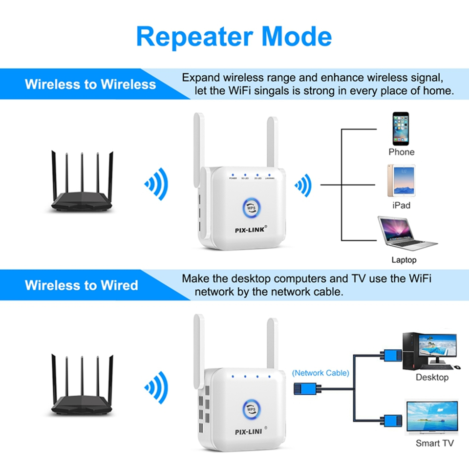 5G Wifi Repeater Wifi Extender 5ghz Wifi Amplifier 5 ghz Wireless Repeater Router Wi fi Booster 2.4G 5G Wi-Fi Signal Extender 4