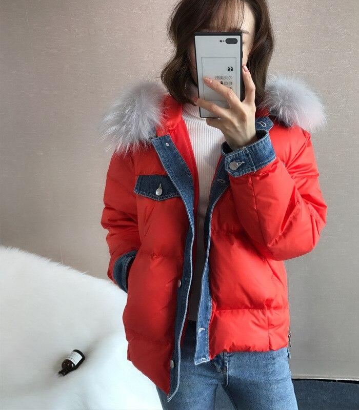 2020 New Women's Winter Down Jacket Hooded Korean Raccoon Fur Collar White Duck Down Coat Doudoune Femme Hiver KJ3037